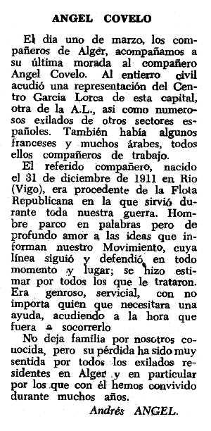 """Necrològica d'Ángel Covelo Caride apareguda en el periòdic tolosà """"Espoir"""" del 6 de juny de 1965"""
