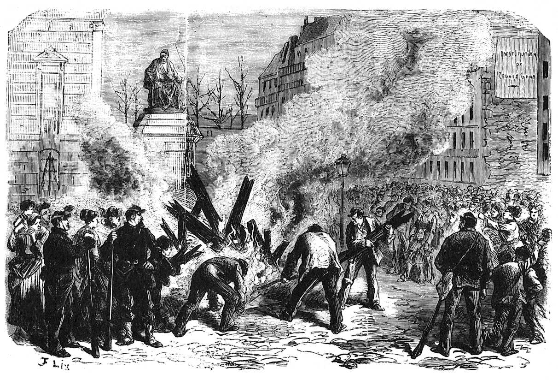 Destrucció de la guillotina a la plaça de l'Ajuntament el 6 d'abril de 1871, segons un gravat de l'època
