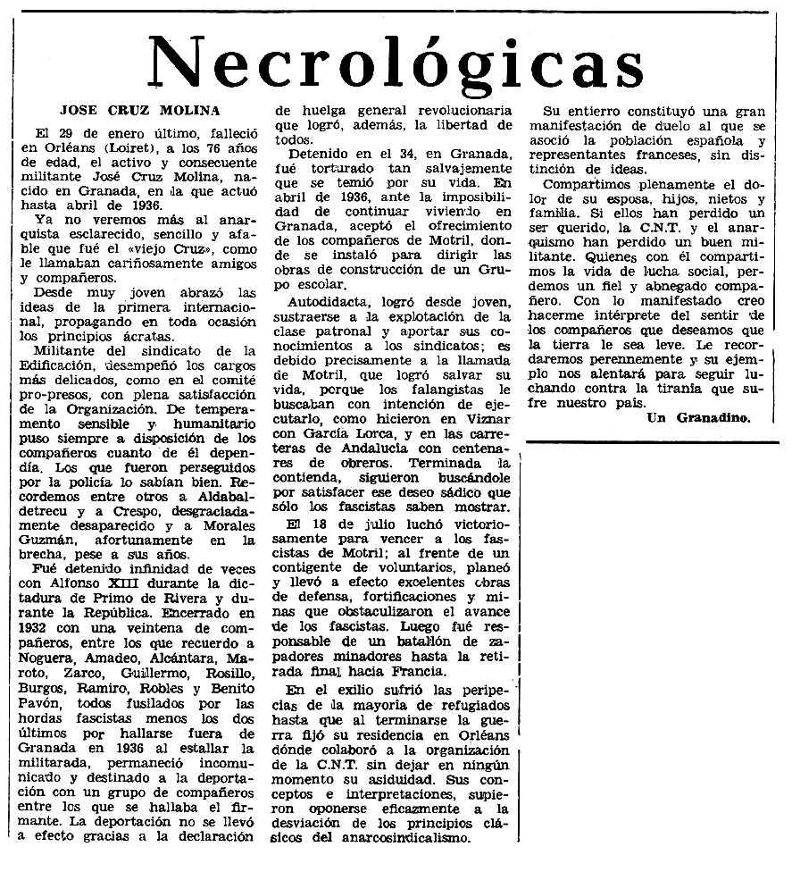 """Necrològica de José Cruz Molina apareguda en el periòdic tolosà """"Espoir"""" del 7 de juliol de 1968"""