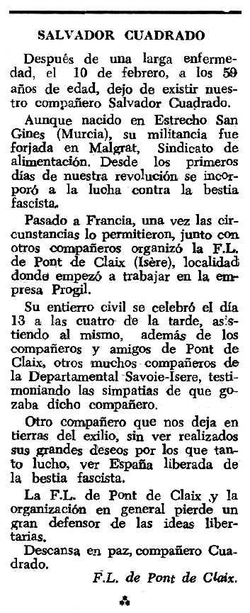 """Necrològica de Salvador Cuadrado Gracia apareguda en el periòdic tolosà """"Espoir"""" del 30 de setembre de 1962"""