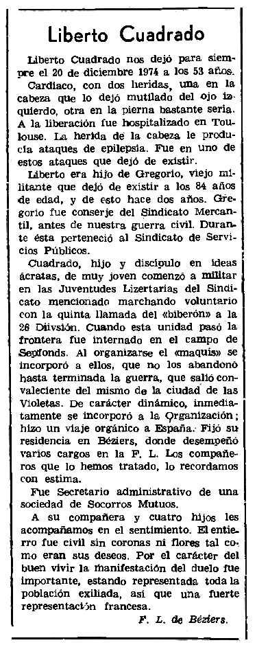 """Necrològica de Liberto Cuadrado publicada en el periòdic parisenc """"Le Combat Syndicaliste"""" del 27 de febrer de 1975"""