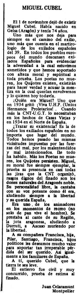 """Necrològica de Miguel Cubel apareguda en el periòdic tolosà """"Espoir"""" del 14 de desembre de 1980"""