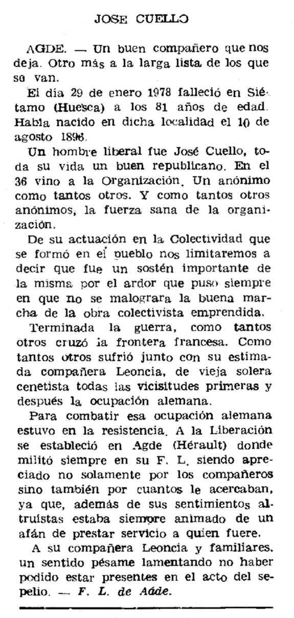 """Necrològica de José Cuello apareguda en el periòdic parisenc """"Le Combat Syndicaliste"""" del 15 de juny de 1978"""