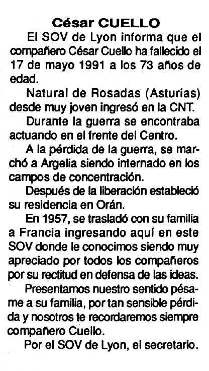 "Necrològica de César Cuello apareguda en el periòdic tolosà ""Cenit"" del 15 d'octubre de 1991"