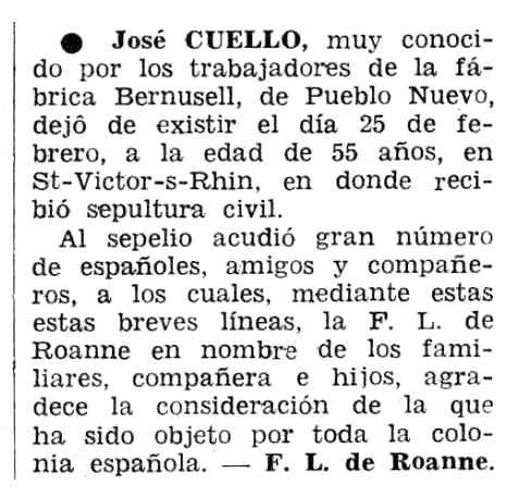 "Necrològica de Josep Maria Cuello Penadés apareguda en el periòdic tolosà ""Espoir"" del 15 de maig de 1966"