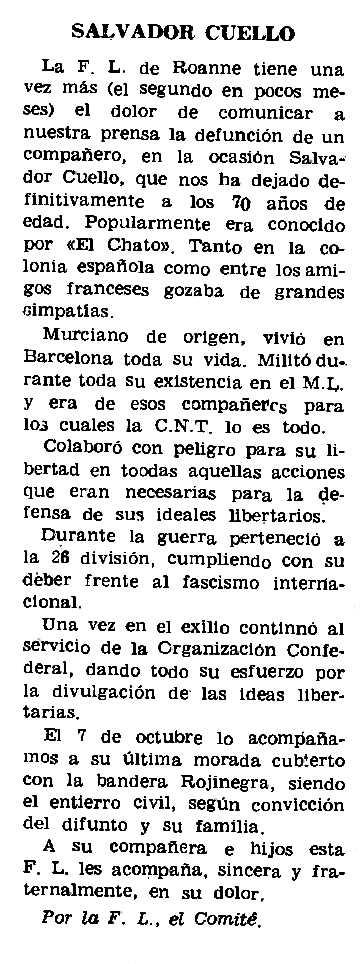 """Necrològica de Salvador Cuello Penadés apareguda en el periòdic parisenc """"Le Combat Syndicaliste"""" del 15 de gener de 1970"""