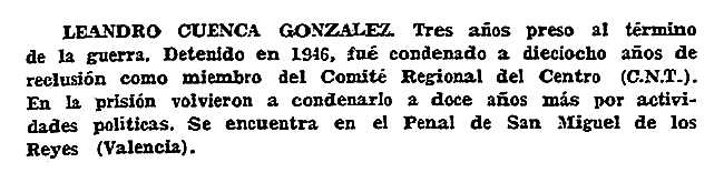 """Notícia sobre l'empresonament de Leandro Cuenca González aparegut en el periòdic tolosà """"España Libre"""" del 9 d'agost de 1959"""