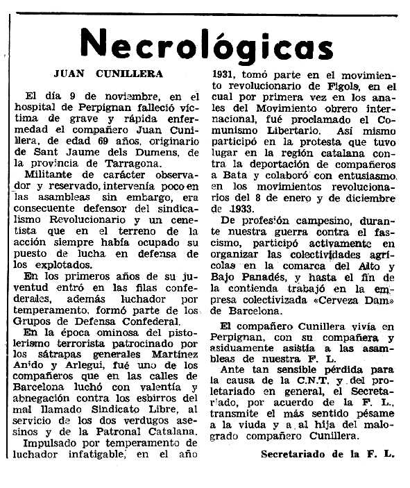"Necrològica de Joan Cunillera apareguda en el periòdic tolosà ""Espoir"" del 17 de gener de 1965"