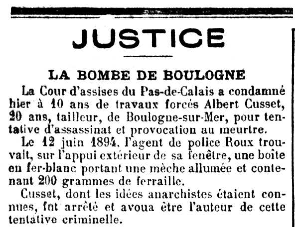 """Notícia sobre la condemna d'Albert Cusset apareguda en el diari parisenc """"La Croix"""" del 26 de gener de 1895"""