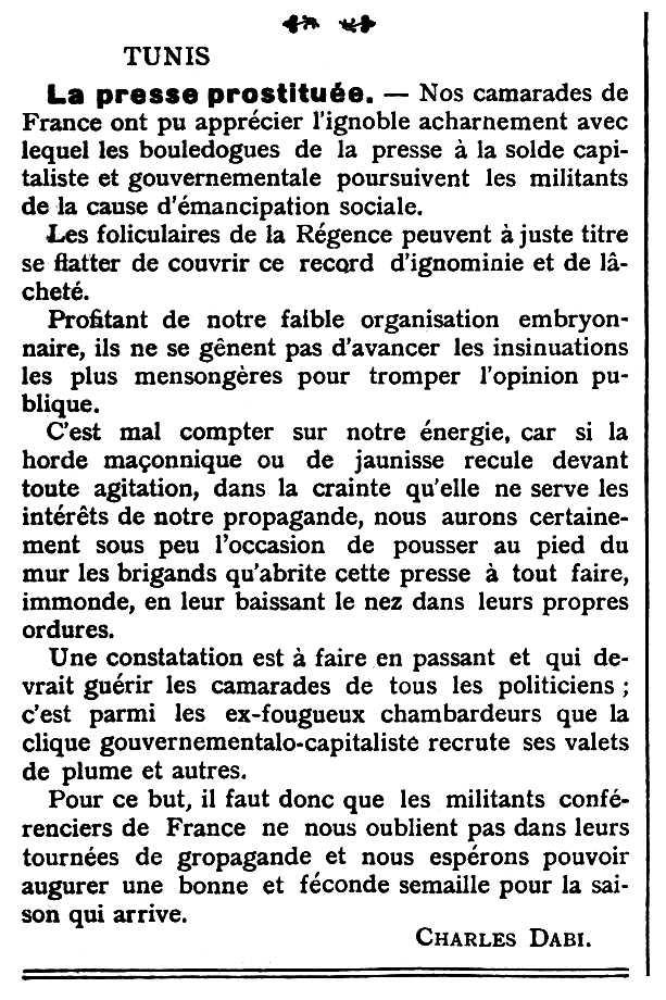 """Article de Chalam Dabi publicat en el periòdic anarquista """"Le Temps Nouveaux"""" del 10 d'octubre de 1908"""