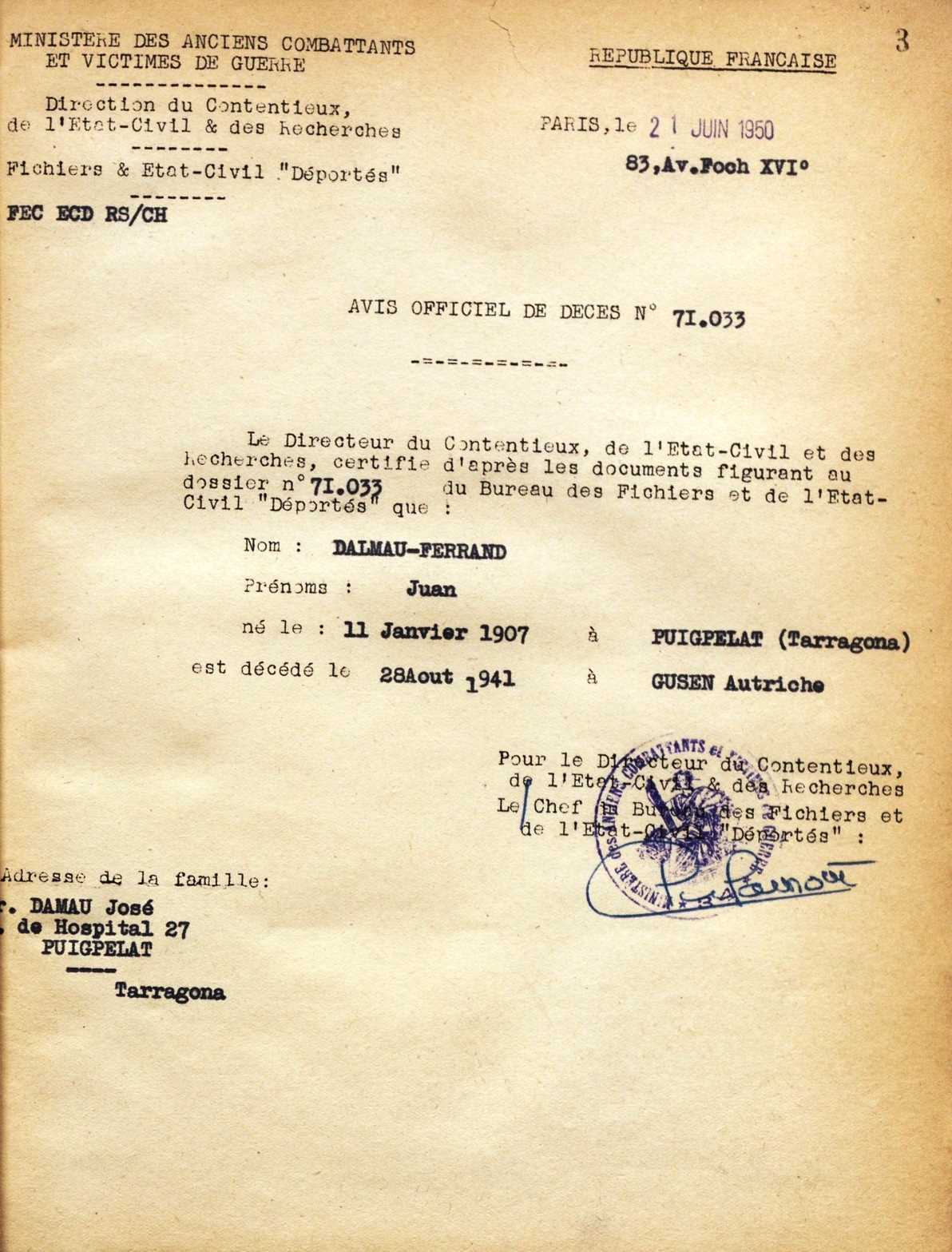 Certificat de defunció de Josep Dalmau Ferran