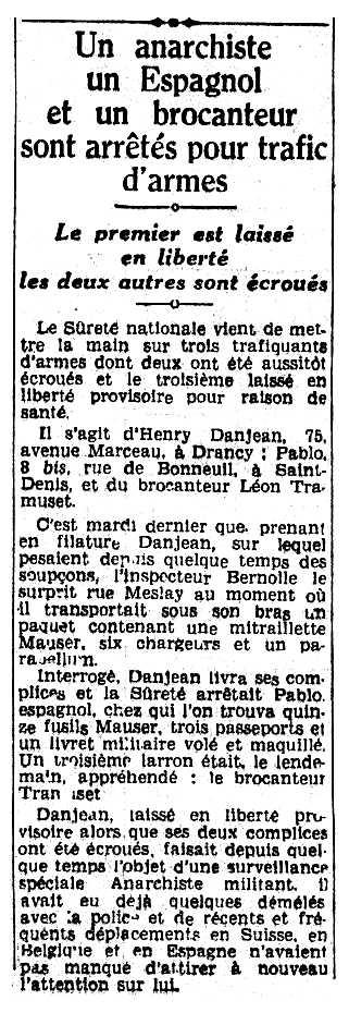 """Notícia de la detenció d'Henri Danjean apareguda en el diari parisen """"La Matin"""" del 17 de setembre de 1938"""