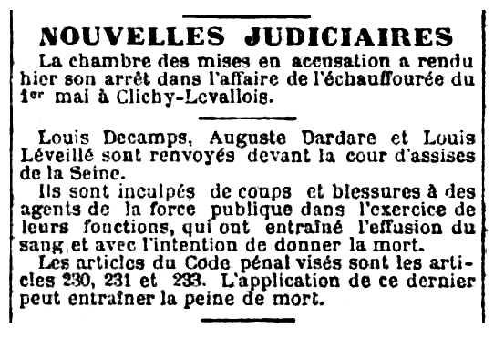 """Notícia sobre el processament de Charles Dardare apareguda en el diari parisenc """"Le Radical"""" del 12 de juliol de 1891"""
