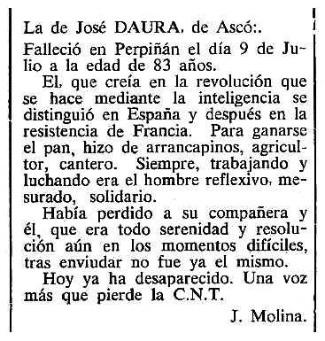 "Necrològica de Josep Daura Florenza apareguda en el periòdic tolosà ""Cenit"" de l'11 de setembre de 1984"