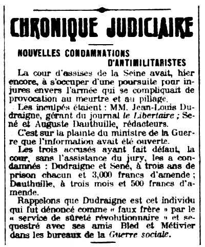 """Notícia sobre la condemna d'Auguste Dauthuille apareguda en el diari parisenc """"Le Petit Journal"""" del 30 de setembre de 1911"""