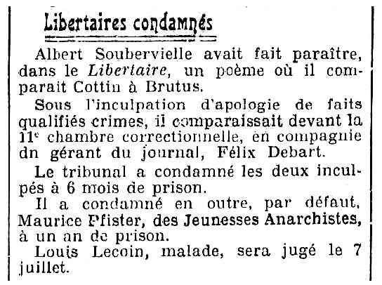"""Notícia sobre la condemna de Félix Debart apareguda en el diari parisenc """"L'Oeuvre"""" del 24 de juny de 1922"""