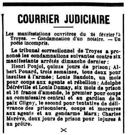 """Notícia d'una de les condemnes d'Adolphe Defreville apareguda en el diari parisenc """"La République Française"""" del 28 de febrer de 1889"""