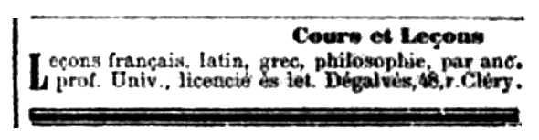 """Oferta de treball de Josep Degalvès publicada en el diari parisenc """"L'Aurore"""" del 31 d'octubre de 1898"""