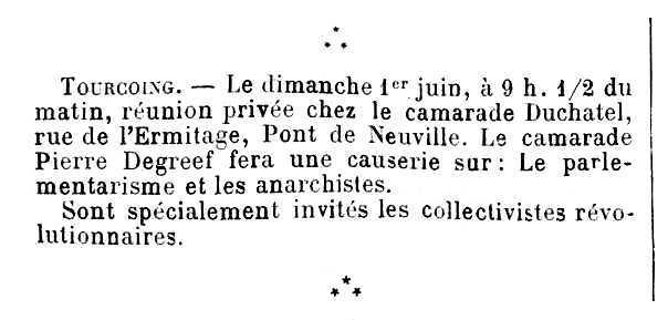"Notícia sobre una xerrada de Pierre Degreef apareguda en el periòdic parisenc ""Le Temps Nouveaux"" del 24 de maig de 1902"