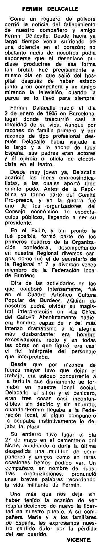 """Necrològica de Fermín de la Calle Zuera apareguda en el periòdic tolosà """"Espoir"""" del 3 de desembre de 1972"""