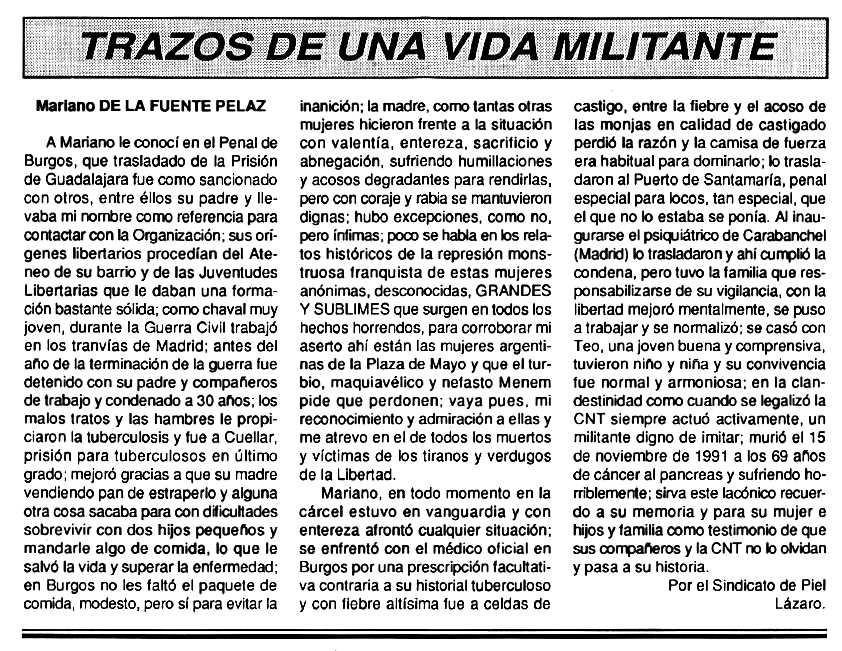 """Necrològica de Mariano de la Fuente Peláez apareguda en el periòdic tolosà """"Cenit"""" del 3 de març de 1992"""