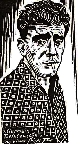 Germain Delatousche según una xilografía de Jean Lébédeff