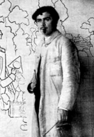 George Delaw treballant a la decoració de la vila d'Edmond Rostand