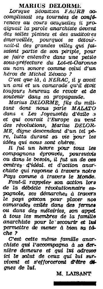 """Necrològica de Marius Delorme apareguda en el periòdic parisenc """"Le Monde Libertaire"""" de març de 1963"""