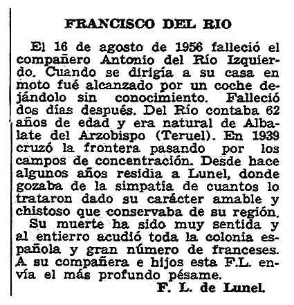 """Necrològica d'Antonio del Río Izquierdo apareguda en el periòdic parisenc """"Solidaridad Obrera"""" del 20 de setembre de 1956"""