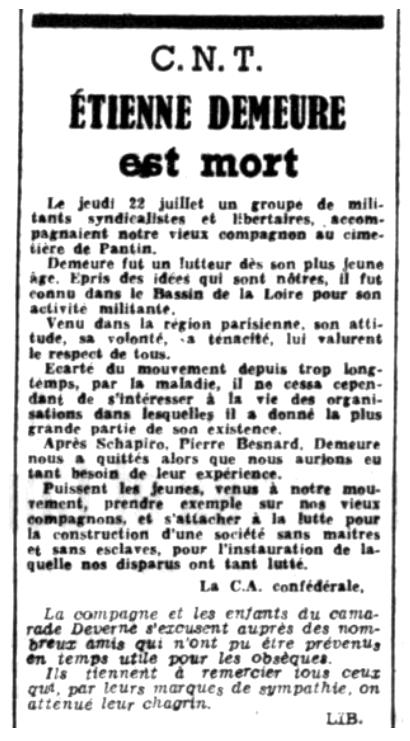 """Necrològica d'Étienne Demeure apareguda en el periòdic parisenc """"Le Libertaire"""" del 6 d'agost de 1948"""