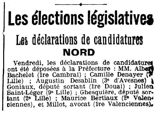 "Notícia sobre la candidatura de Camille Denayer apareguda en el diari de Lille ""Le Gran Écho du Nord de la France"" del 19 d'abril de 1914"