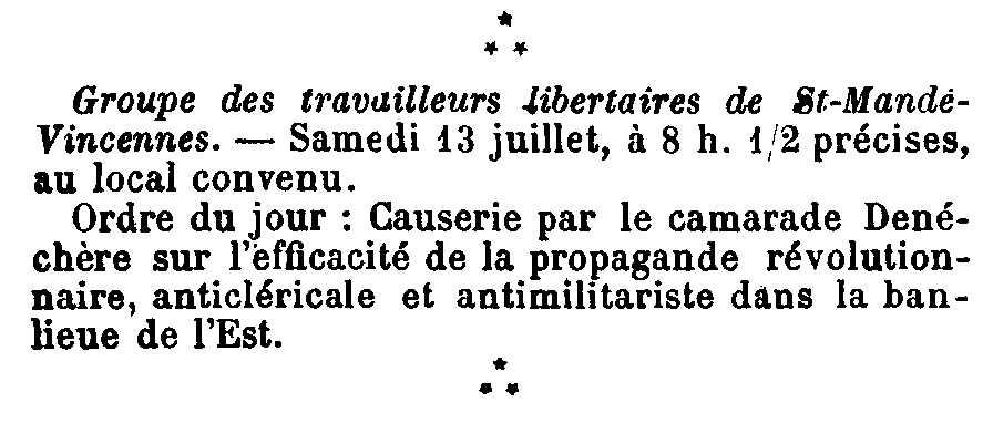 """Notícia sobre una xerrada d'Amédée Denéchère apareguda en el periòdic parisenc """"Les Temps Nouveaux"""" del 13 de juliol de 1901"""