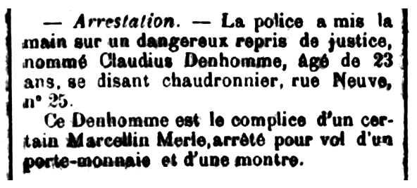 """Notícia de la detenció de Claudius Denhomme apareguda en el diari de Saint-Étienne """"Mémorial de la Loiret et de la Haute-Loire"""" del 4 d'abril de 1892"""