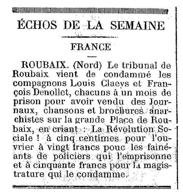 """Notícia de la condemna de François Denollet publicada en el periòdic de Le Havre """"L'Idée Ouvriere"""" del 7 d'abril de 1888"""