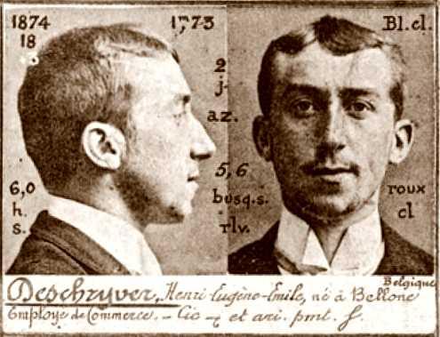 Foto policíaca d'Henri Deschryver (ca. 1894)