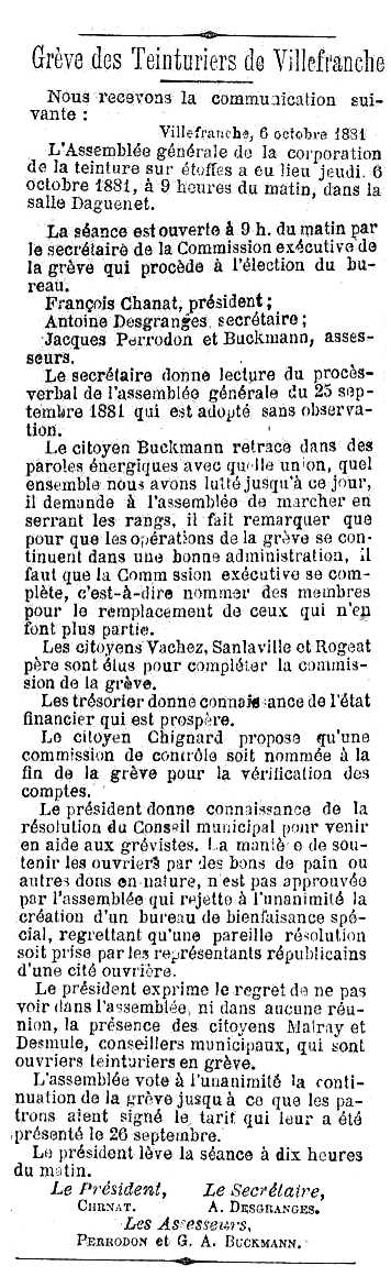 """Notícia sobre Antoine Desgranges apareguda en el periòdic lionès """"Le Réveil Lyonnais"""" del 7 d'octubre de 1881"""