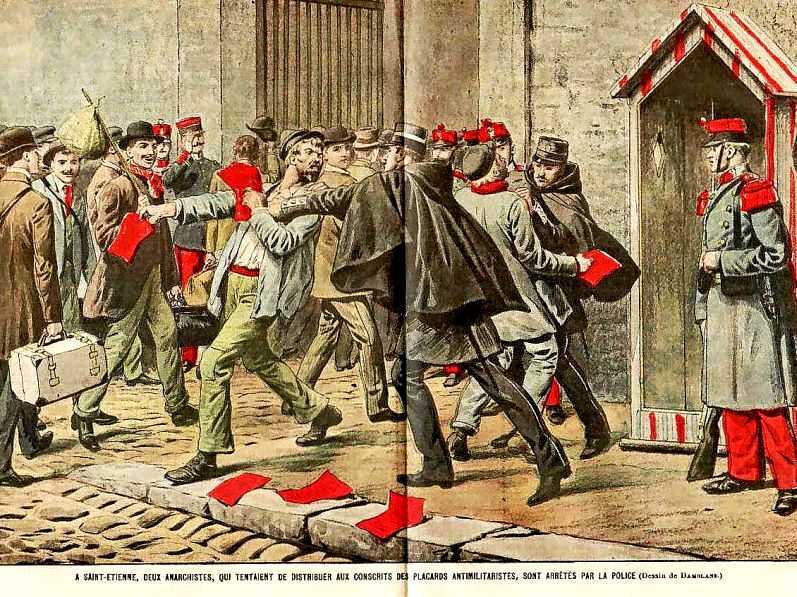 Detenció de dos anarquistes durant la distribució de pamflets antimilitaristes a Sant-Etiève
