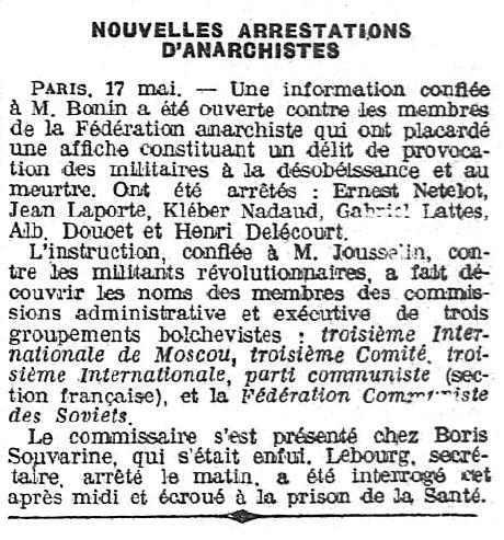 """Notícia de la detenció de Kléber Nadaud i altres companys apareguda en """"L'Ouest-Éclair"""" del 18 de maig de 1920"""