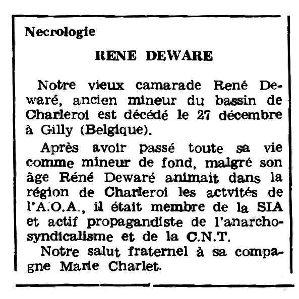 """Necrològica de René Deware apareguda en el periòdic parisenc """"Le Combat Syndicaliste"""" del 10 de febrer de 1977"""