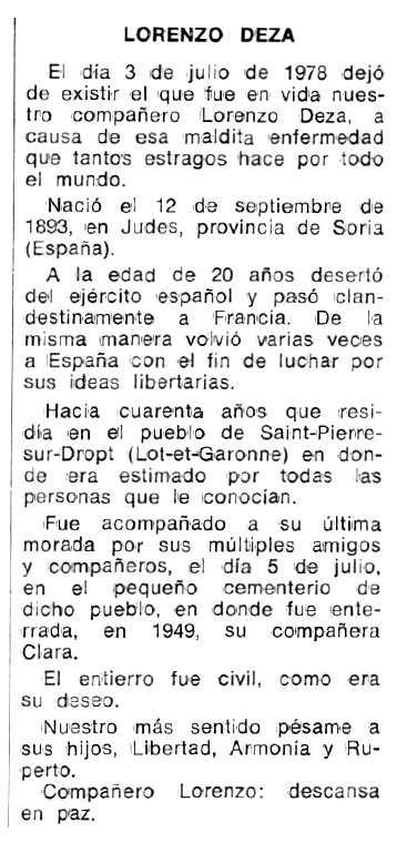 """Necrològica de Lorenzo Deza apareguda en el periòdic tolosà """"Espoir"""" del 21 de març de 1979"""