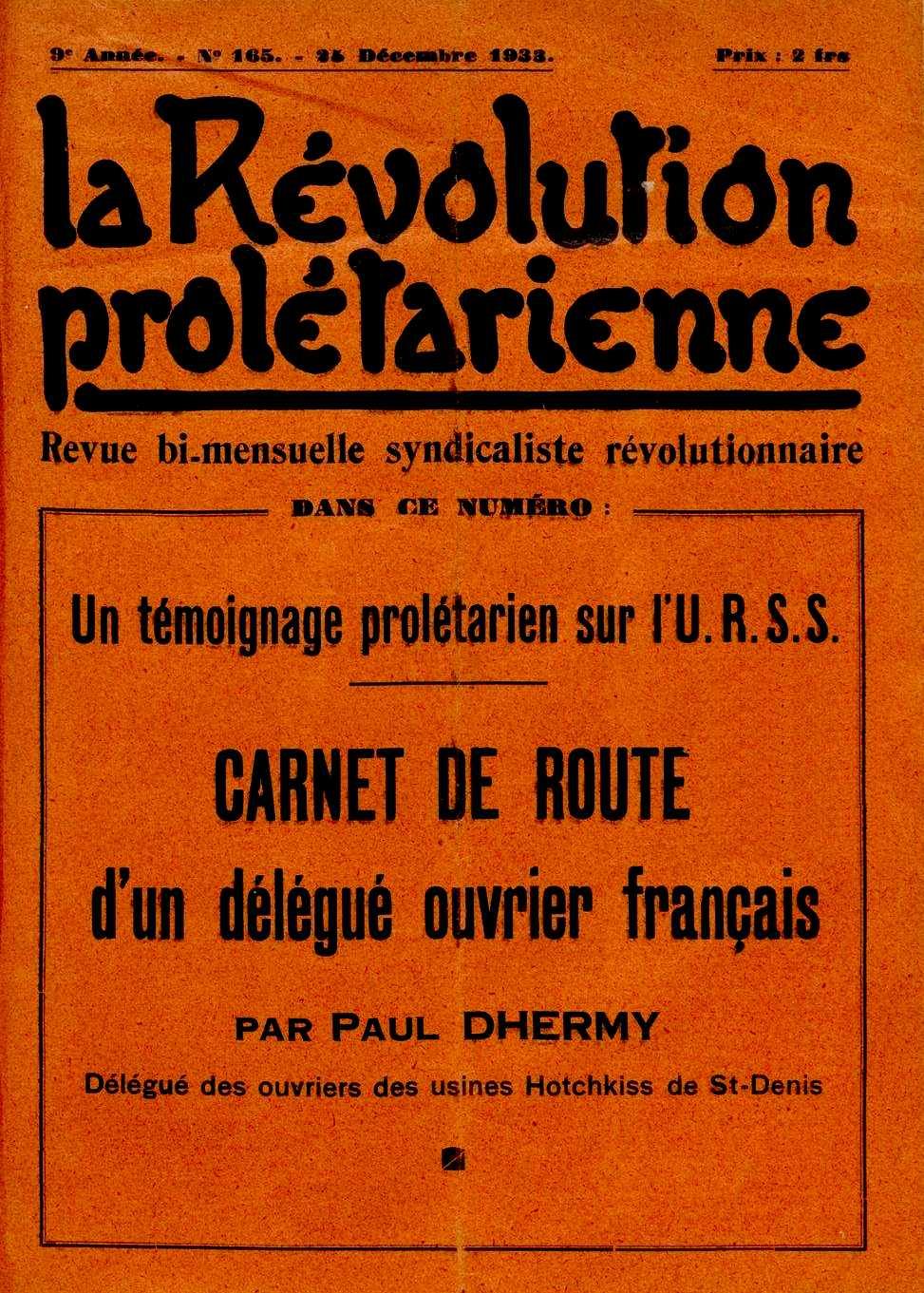 """Portada del número de """"La Révolution Prolétarienne"""" que conté l'article de Paul Dhermy"""