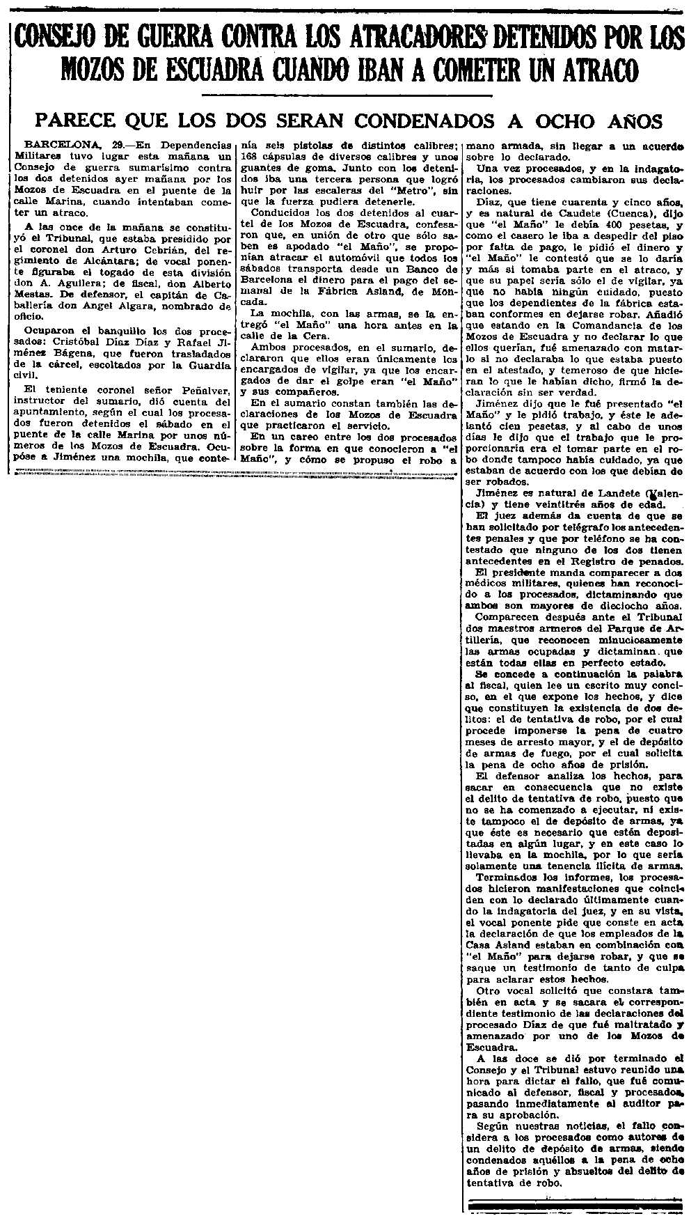 "Notícia del judici a Cristóbal Díaz Díaz apareguda en el diari madrileny ""Ahora"" del 30 de juliol de 1935"