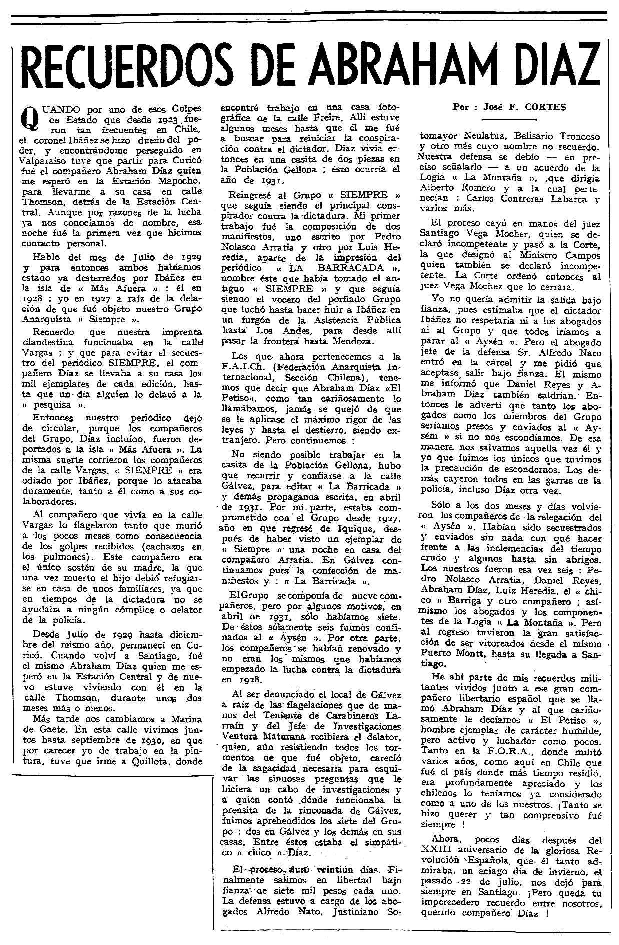 """Necrològica d'Abraham Díaz Tendero apareguda en el periòdic tolosà """"CNT"""" del 30 d'agost de 1959"""
