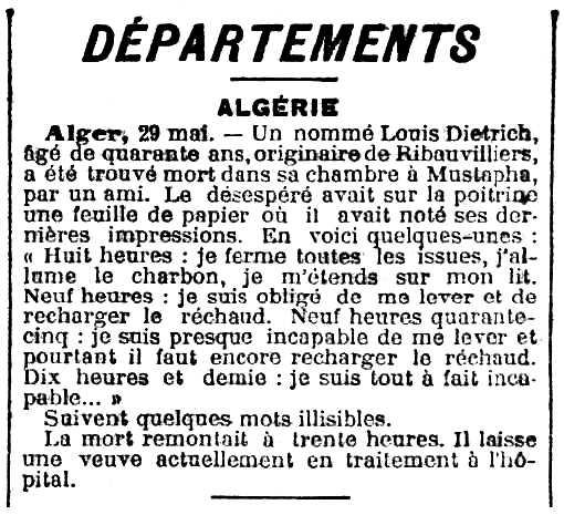 "Notícia del suïcidi de Louis Diétrich apareguda en el diari parisenc ""La Lanterne"" del 31 de maig de 1902"
