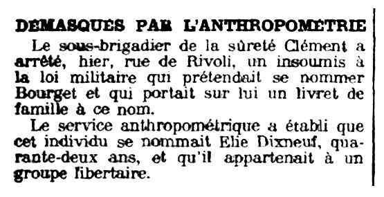 """Notícia de la detenció d'Élie Dixneuf apareguda en el diari parisenc """"Le Petit Parisien"""" del 15 d'octubre de 1915"""