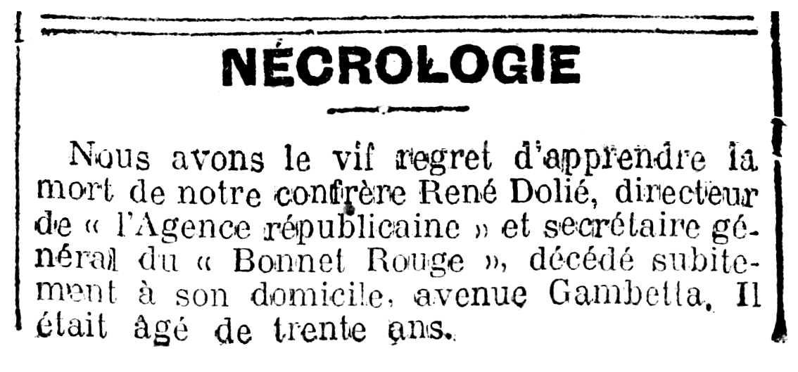 """Necrològica de René Dolié aparegua en el diari parisenc """"La Lanterne"""" del 8 d'abril de 1917"""