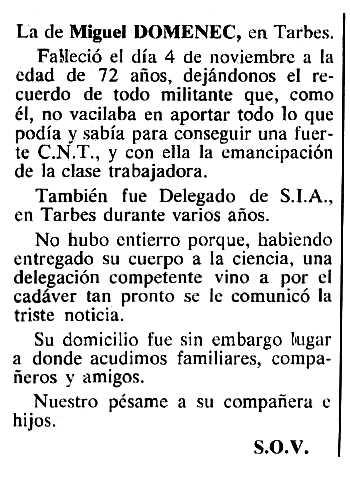 """Necrològica de José Miguel Domene Barón apareguda en el periòdic tolosà """"Cenit"""" del 6 de desembre de 1983"""