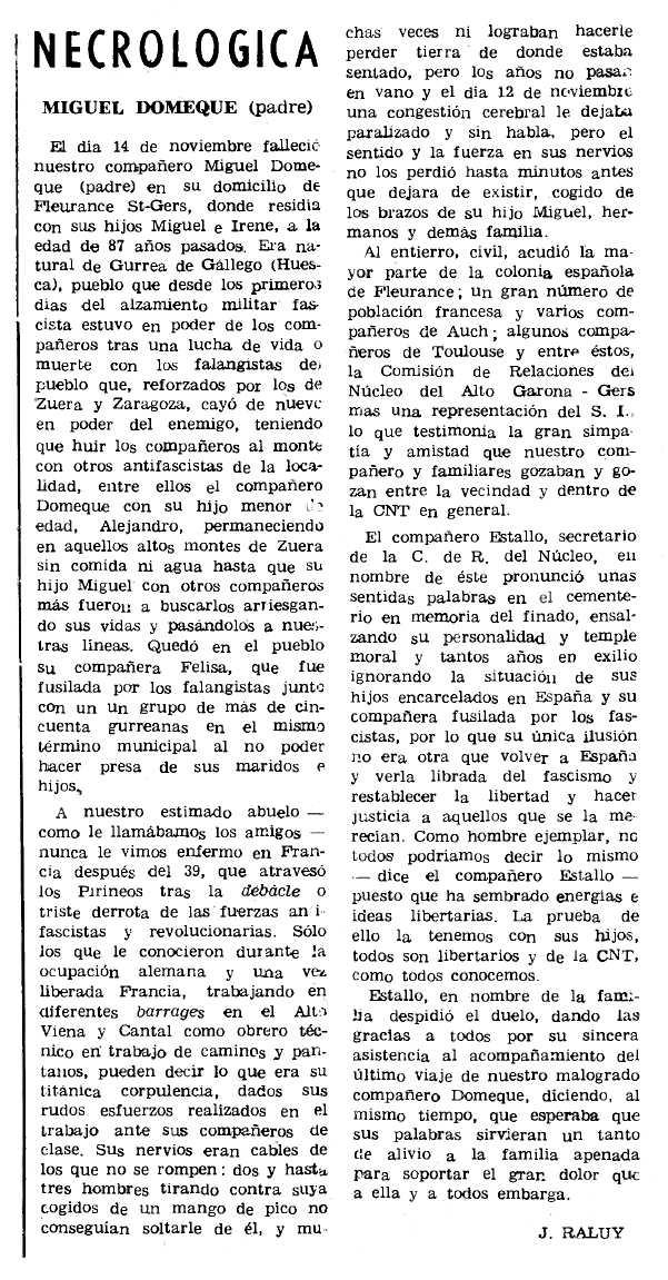 """Necrològica de Miguel Domeque Nadal apareguda en el periòdic parisenc """"Le Combat Syndicaliste"""" del 6 de gener de 1972"""