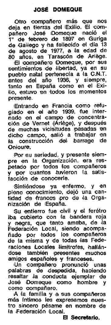 """Necrològica de José Domeque Nadal apareguda en el periòdic tolosà """"Espoir"""" del 18 de desembre de 1977"""