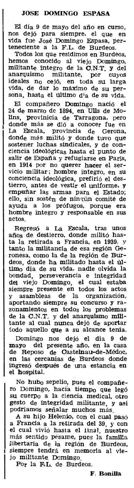 """Necrològica de Josep Domingo Espasa apareguda en el periòdic parisenc """"Le Combat Syndicaliste"""" del 2 de juliol de 1981"""